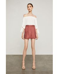 BCBGMAXAZRIA - Bcbg Pleated Cotton Short - Lyst