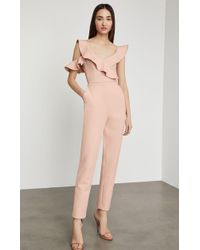 BCBGMAXAZRIA - Bcbg One Shoulder Ruffle Jumpsuit - Lyst
