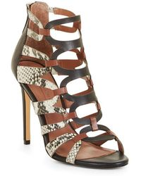 BCBGMAXAZRIA - Valentia Python Leather Sandals - Lyst