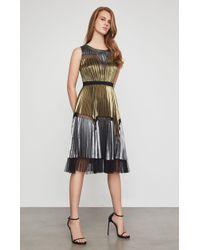BCBGMAXAZRIA - Bcbg Lucea Pleated Metallic Dress - Lyst