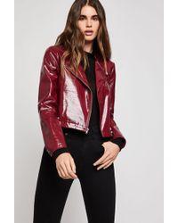 BCBGeneration - Faux Patent Leather Moto Jacket - Lyst