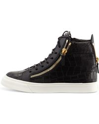 Giuseppe Zanotti Crocodile-print High-top Sneaker - Lyst