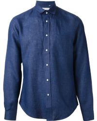 Mr Start Dark Blue Linen Shirt - Lyst