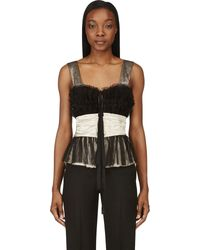 Maison Margiela Black Tulle and Satin Bustier Top - Lyst