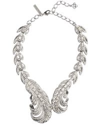 Oscar de la Renta Swarovski Crystal Feather Necklace - Lyst