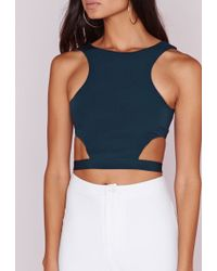 Missguided - Wrap Around Crop Top Teal - Lyst