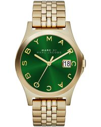 Marc By Marc Jacobs 36mm The Slim Golden Watch with Bracelet Green Dial - Lyst