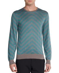 Armani Zigzag Multistriped Sweater - Lyst