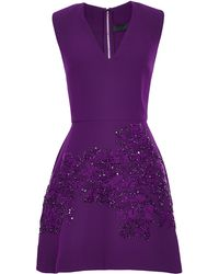 Elie Saab Crepe Cady and Embroidered Motif Short Dress - Lyst