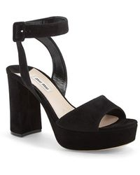 Miu Miu Block Heel Platform Sandal black - Lyst