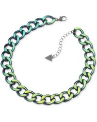 Guess Multicolor Metallic Chain Necklace - Lyst
