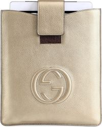 Gucci Soho Metallic Leather Case For Ipad - Lyst
