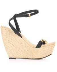 Alexander McQueen Black Ankle Strap Skull Detail Platform Espadrilles - Lyst