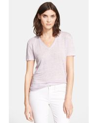 Vince Shirttail V-Neck Tee - Lyst