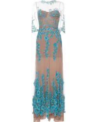 Blumarine Flower Sequined Long Tulle Dress - Lyst