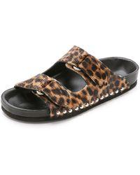 IRO Xabon Haircalf Footbed Slides - Leopard - Lyst