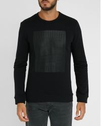 Calvin Klein   Black Tone-on-tone Geometric Printed Sweatshirt   Lyst