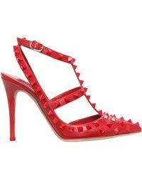 Valentino 100Mm Rouge Studded Leather Pumps - Lyst
