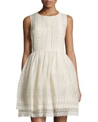 RED Valentino Sleeveless Fit  Flare Embroidered Voile Dress - Lyst