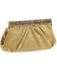 Natasha Couture Crystal Bar Clutch - Metallic - Lyst