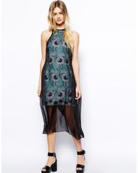 Asos Lace Maxi Dress With Sheer Layer - Lyst