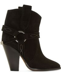 Isabel Marant Black Suede Rawson Ankle Boots - Lyst