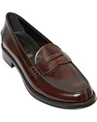 Tod's 25Mm Brushed Leather Penny Loafers - Lyst