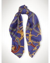 Ralph Lauren Silk Equestrian Scarf blue - Lyst