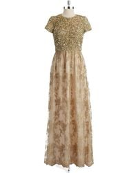 Badgley Mischka Short Sleeved Gown - Lyst