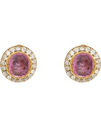 Munnu - Ruby & Diamond Oversize Circular Studs - Lyst