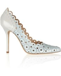 Oscar de la Renta Perforated Twotone Patent leather Pumps - Lyst