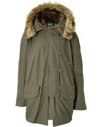 McQ by Alexander McQueen Cotton Coat with Fur Collar - Lyst