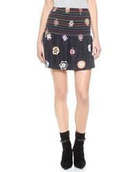 Cynthia Rowley Medallion Ruffle Skirt - Black - Lyst