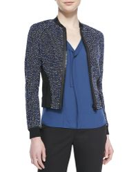 Elie Tahari Sandie Cropped Zip-front Tweed Jacket - Lyst
