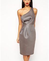 Asos Premium One Shoulder Mesh Pencil Dress - Lyst