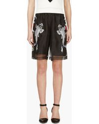3.1 Phillip Lim Black Embroidered Koi Shorts - Lyst