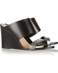 Karl Lagerfeld Metallic-Trimmed Leather Wedge Sandals - Lyst