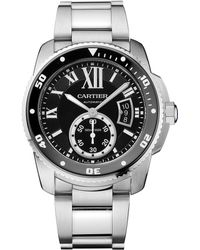 Cartier Calibre De Diver Stainless Steel Bracelet Watch - Lyst