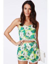 Missguided Burma Hawaiian Tropical Print Pom Pom Detail Shorts - Lyst