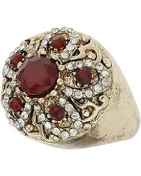 TOPSHOP - Large Red Flower Ring Red - Lyst