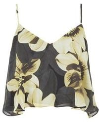 Topshop Sunflower Cropped Cami black - Lyst