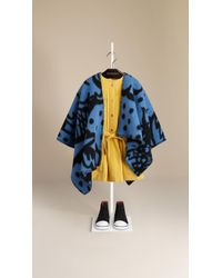 Burberry Thistle Motif Wool Cashmere Poncho - Lyst