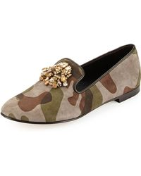 Giuseppe Zanotti Camo Suede Loafer With Jeweled Detail - Lyst