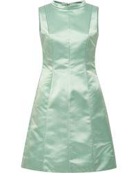 Katie Ermilio Faille Faced Satin Seamed Contour Tea Dress green - Lyst