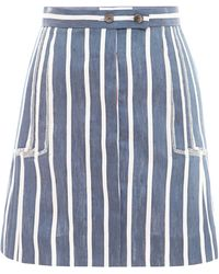 Thom Browne Linen and Silk Striped Skirt - Lyst