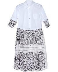 MM6 by Maison Martin Margiela Short Sleeve Floral Combo Dress - Lyst