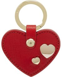 Mulberry Leather Heart Rivet Keyring - Lyst