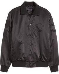 H&M Black Bomber Jacket - Lyst