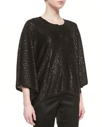 St. John Collection Sparkle Eyelash Knit Double Breasted Topper with Pocket Flaps Fringe - Lyst