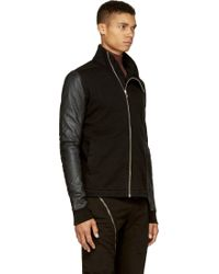 DRKSHDW by Rick Owens Black Leather and Jersey Top - Lyst